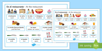At The Restaurant Useful Vocabulary Word Mat - Spanish - Spanish, Vocabulary, food, drinks, restaurant, useful, word, mat