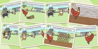 Little Red Hen Playdough Mats - Little Red Hen, playdough, mat, traditional tale, tale, fairy tale, little red hen, cat, dog, horse, grain, wheat, flour, bread, no I, I will