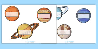 Editable Self Registration Labels (The Planets) - Self registration, register, editable, labels, registration, child name label, printable , moon, sun, earth, mars, neptune, pluto, uranus, jupiter, saturn