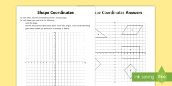 Shape Coordinates Activity - UKS2, maths co-ordinates, 2-D shape, properties of shapes, Christmas, elf, worksheet, activity sheet