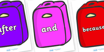 Connectives on Suitcases - Connectives, VCOP, connective resources, connectives display words, connective displays, conjuntions