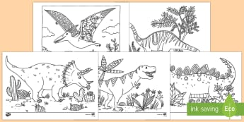 Adult Colouring Mindfulness Dinosaur Themed Pages - Mindfulness Colouring, colouring, fine motor skills, adult, adult mindfulness, adult colouring