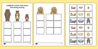 Goldilocks and the Three Bears Size Sorting Activity - story book