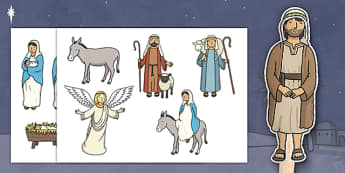 Nativity Stick Puppets - Nativity, Stick Puppet, Christmas Story, xmas, Visual Aids, Mary, Joseph, Jesus, shepherd, wise men, Herod, angel, donkey, stable, Gabriel, First Christmas,Inn, Star