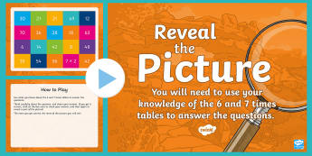 Multiplication (6 and 7 Times Tables) Reveal the Picture Plenary Activity - CfE Numeracy and Mathematics, ICT, interactive, revision, recap, number, number processes, multiply,