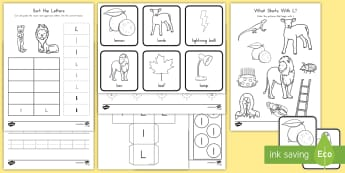 Letter L Activity Pack - Alphabet Packets, Letter Formation, Letter Identification, Beginning Sounds, EYFS, KS1, Kindergarten