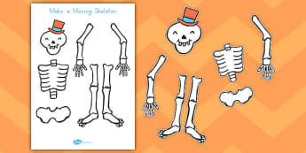 Make a Moving Skeleton A4 to Support Teaching on Funnybones - science, design, craft, paper, split pins, cut, out, scissors, model, display
