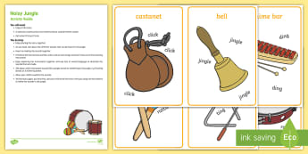 Noisy Jungle Busy Bag Resource Pack for Parents - Rumble in the Jungle, Giles Andreae, Rainforest, music, instruments, sound story