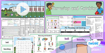 PlanIt Year 1 Games Throwing and Catching Unit Pack - Games Throwing and Catching, pe, plans, planning, powerpoint, ball skills, y1, ks1