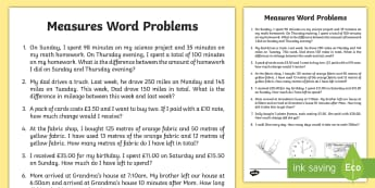 Measure Word Problems Activity Sheet - Math word problems, measures word problems, 4.MD.A2, work problems, problem solving, money, length,