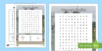 War and Conflict Word Search - skim, scan, keywords, reading, vocabulary, topic words, wordsearch,Scottish
