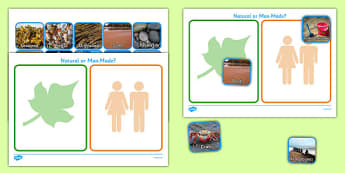Seaside Themed Natural or Man Made Sorting Activity - seaside