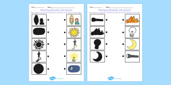 Light and Dark Shadow Matching Worksheets - light, dark, match
