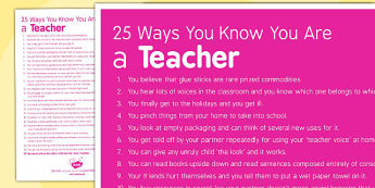 25 Ways You Know You Are a Teacher - teacher, 25 ways, know, you