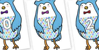 Numbers 0-31 on Owl - 0-31, foundation stage numeracy, Number recognition, Number flashcards, counting, number frieze, Display numbers, number posters
