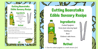 Cutting Beanstalks Edible Sensory Recipe - Cutting, spaghetti, Jack and the Beanstalk, messy play