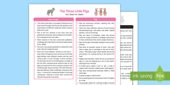 The Three Little Pigs Fact Sheet for Adults - EYFS, Early Years, KS1, fairytales, traditional stories, pigs, houses and homes, bricks, straw, wood, sticks, wolf