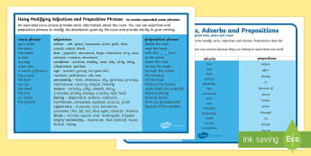 Year 3 and 4 Grammar Word Mats Resource Pack - English, language, grammar, conjunctions, adverbs, adjectives, noun phrase ,Australia