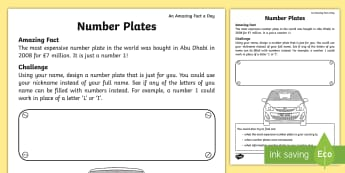 Personalised Number Plate Activity Sheet - Amazing Fact Of The Day, activity sheets, powerpoint, starter, morning activity, April, numbers, let
