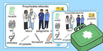 Plansza ze slownictwem Przychodnia lekarska po polsku , Polish