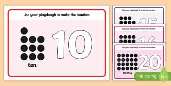 Simple Number Playdough Mats (11-20) - Playdough mat, playdough resources, numeracy, numbers, playdough