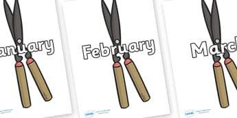 Months of the Year on Shears - Months of the Year, Months poster, Months display, display, poster, frieze, Months, month, January, February, March, April, May, June, July, August, September