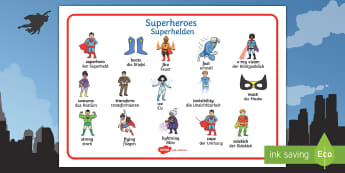 Superhero Word Mat English/German - word mat, mat, superhero, special powers,German-translation