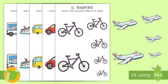 Ordenar tamaños: El transporte - ordernar, orden, clasificar, tamaño, tamaños, transporte, coche, camión, avión, globo aerostáti