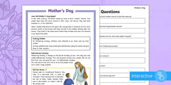 KS2 Mother's Day Differentiated Comprehension Go Respond  Activity Sheets - KS2, year 3, year 4, year 5, year 6, yr 3, yr 4, yr 5, yr 6, reading comprehension, reading, compreh