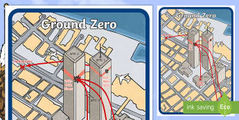Ground Zero Map - Patriot Day, September 11th, World Trade Center, map, attacks, ground zero