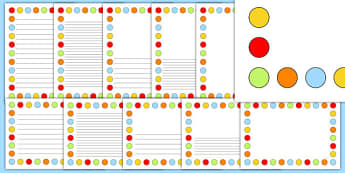Multicoloured Polka Dot Page Borders - page borders, polka dot