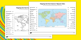 Mapping Out Host Summer Olympic Cities A3 Activity Sheet - usa, america, mapping out, host, summer olympic, city, worksheet