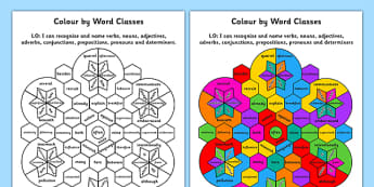 Colour by Word Class 8 Word Classes - colour, word, class, 8, word classes, word class