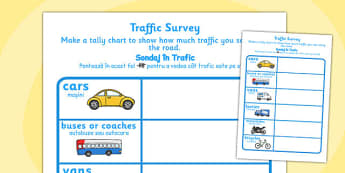 Traffic Survey Worksheet Romanian Translation - traffic, survey, data, handling, count, transport, vehicles
