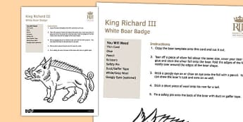 Richard III Boar Badge Worksheet - richard III, boar, badge