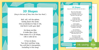 3D Shapes Song - shape, measure, pattern, EYFS, 3D, sphere, cylinder, cube, cuboid, triangular prism, object,