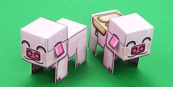 Block Pig Paper Model - paper, model, block, pig, minecraft