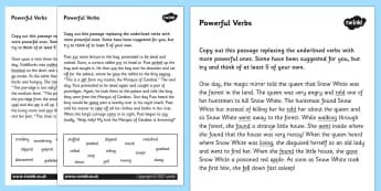 Powerful Verbs Worksheets - verbs, verbs worksheets, powerful verbs worksheets, powerful verbs, better verbs, replacing verbs, literacy worksheets