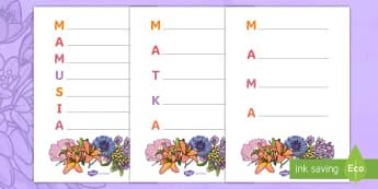 Szablony Akrostych Dzień Matki - poezja, wiersz, wierszyk, pisanie, mama, mamusia, matka, dzień, matki, rym, kwiaty, laurka, kartka,