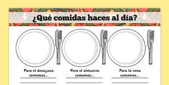Plantilla de escritura - Comidas - desayuno, comida, cena, desayunar, comer, cenar