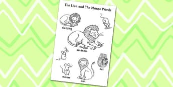 The Lion And The Mouse Words Colouring Sheet - Lion, Word, Colour