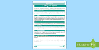 Forms of Anxiety in Childhood Adult Guidance - Requests SEN, anxiety, guide, types, help