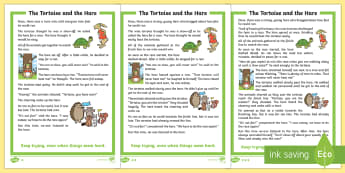 The Tortoise and the Hare Story -  Aesop's fable, moral, fable, KS1, key stage 1, key stage 1, year 1, year one, y1, year two, year 2