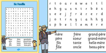 ma famille Word Search French - french, my family, wordsearch, word search, family