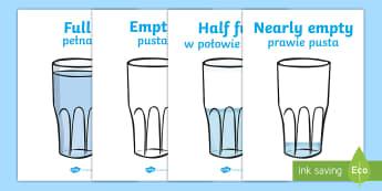 Capacity Display Posters (Cups) English/Polish - Capacity display posters, capacity, volume, litre, full, empy, half full, measure, jug, cup, water,