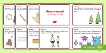 Year 1 Measurement Challenge Cards - measurement, year 1, word problems,Australia, money, problems, problem solving, measure,
