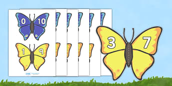Number Bonds to 10 Matching Cards (Butterflies) - Minibeasts - Number Bonds, butterfly, butterflies, Matching Cards, Number Bonds to ten, counting, number recognition, minibeasts