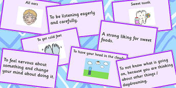 Body Idioms Matching Cards Set 2 - idioms, body, matching, cards