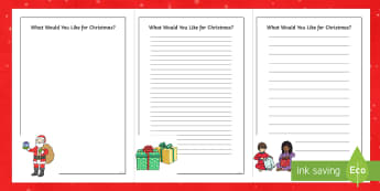 What Would You like for Christmas? Writing Frames - Canada Christmas