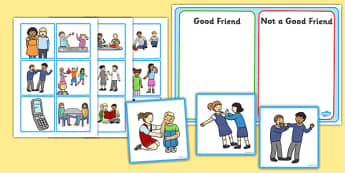 Good Friend Discussion and Sorting Cards - good friends discussion and sorting cards, how to be a good friend, friendship, sorting cards, discussion cards, cards, flashcards, sorting, friends, good, behaviour, friend, relationship